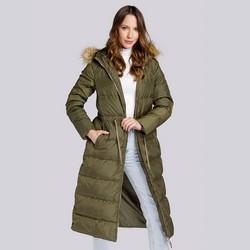 Damski płaszcz pikowany ze ściągaczem w talii, zielony, 93-9D-400-Z-L, Zdjęcie 1