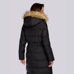 Damski płaszcz pikowany ze ściągaczem w talii, czarny, 93-9D-400-1-S, Zdjęcie 1