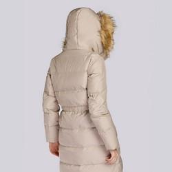 Damski płaszcz pikowany ze ściągaczem w talii, beżowy, 93-9D-400-9-XL, Zdjęcie 1