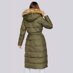 Damski płaszcz pikowany ze ściągaczem w talii, zielony, 93-9D-400-Z-2XL, Zdjęcie 1