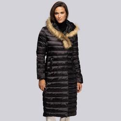 Damski płaszcz puchowy z asymetrycznym sztucznym futerkiem, czarny, 93-9D-408-1-M, Zdjęcie 1