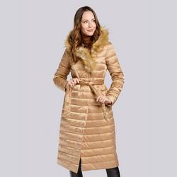 Damski płaszcz puchowy z asymetrycznym sztucznym futerkiem, beżowo - srebrny, 93-9D-408-5-3XL, Zdjęcie 1