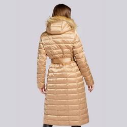 Damski płaszcz puchowy z asymetrycznym sztucznym futerkiem, beżowo - srebrny, 93-9D-408-5-XS, Zdjęcie 1