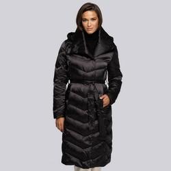 Damski płaszcz puchowy z kapturem, czarny, 93-9D-407-1-L, Zdjęcie 1