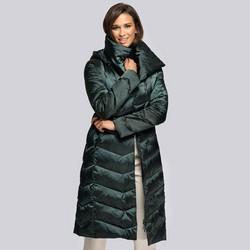 Damski płaszcz puchowy z kapturem, zielony, 93-9D-407-Z-L, Zdjęcie 1