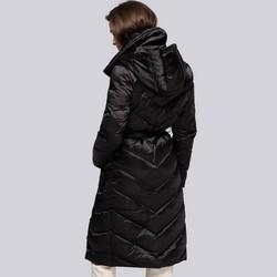 Damski płaszcz puchowy z kapturem, czarny, 93-9D-407-1-XS, Zdjęcie 1