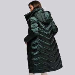 Damski płaszcz puchowy z kapturem, zielony, 93-9D-407-Z-S, Zdjęcie 1
