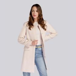 Damski płaszcz wełniany pudełkowy, złamany biały, 93-9W-702-0-S, Zdjęcie 1