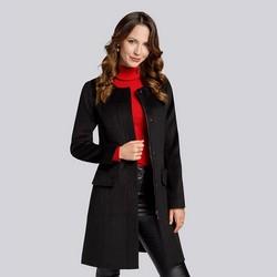 Damski płaszcz wełniany pudełkowy, czarny, 93-9W-702-1-L, Zdjęcie 1