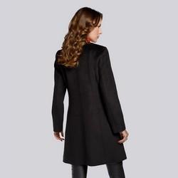 Damski płaszcz wełniany pudełkowy, czarny, 93-9W-702-1-S, Zdjęcie 1