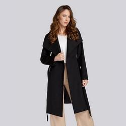 Damski płaszcz z wełną szlafrokowy, czarny, 93-9W-701-1-XS, Zdjęcie 1