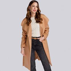 Damski płaszcz wełniany szlafrokowy, beżowy, 93-9W-701-5-L, Zdjęcie 1