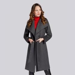 Damski płaszcz z wełną szlafrokowy, szary, 93-9W-701-8-S, Zdjęcie 1