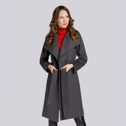 Damski płaszcz z wełną szlafrokowy, szary, 93-9W-701-8-XL, Zdjęcie 1