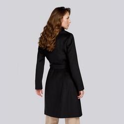 Damski płaszcz z wełną szlafrokowy, czarny, 93-9W-701-1-2XL, Zdjęcie 1
