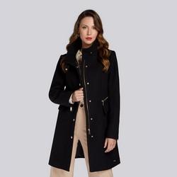 Damski płaszcz z dodatkiem wełny prosty, czarny, 93-9W-700-1-S, Zdjęcie 1