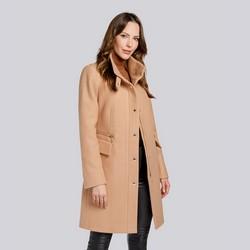 Damski płaszcz z dodatkiem wełny prosty, beżowy, 93-9W-700-5-L, Zdjęcie 1
