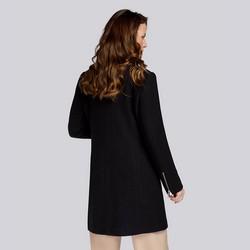 Damski płaszcz z dodatkiem wełny prosty, czarny, 93-9W-700-1-2XL, Zdjęcie 1