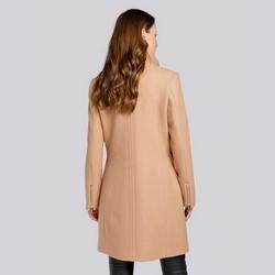 Damski płaszcz z dodatkiem wełny prosty, beżowy, 93-9W-700-5-M, Zdjęcie 1