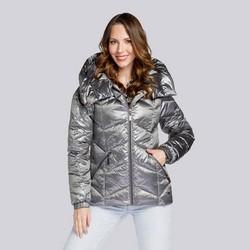 Damska kurtka z nylonu pikowana w zygzaki, -, 93-9D-403-8-S, Zdjęcie 1