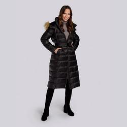 Damski płaszcz zimowy klasyczny z kapturem, czarny, 93-9D-401-1-M, Zdjęcie 1