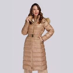 Damski płaszcz zimowy klasyczny z kapturem, beżowo - srebrny, 93-9D-401-5-S, Zdjęcie 1