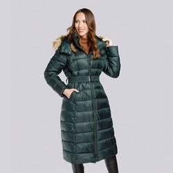 Damski płaszcz zimowy klasyczny z kapturem, zielony, 93-9D-401-Z-M, Zdjęcie 1