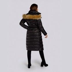 Damski płaszcz zimowy klasyczny z kapturem, czarny, 93-9D-401-1-3XL, Zdjęcie 1
