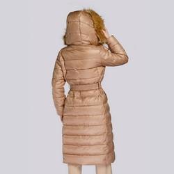 Damski płaszcz zimowy klasyczny z kapturem, beżowy, 93-9D-401-5-M, Zdjęcie 1