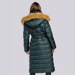 Damski płaszcz zimowy klasyczny z kapturem, zielony, 93-9D-401-Z-S, Zdjęcie 1
