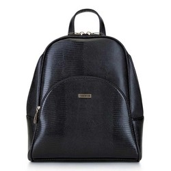 Women's faux leather backpack, black-gold, 29-4Y-008-01, Photo 1