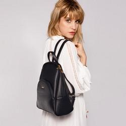 Damski plecak o zaokrąglonych liniach, czarno - złoty, 29-4Y-008-1, Zdjęcie 1