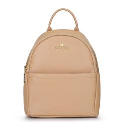 Damski plecak skórzany minimalistyczny, beżowy, 92-4E-624-9, Zdjęcie 1
