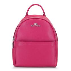 Damski plecak skórzany minimalistyczny, różowy, 92-4E-624-P, Zdjęcie 1