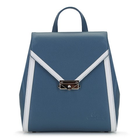 Damski plecak skórzany z kopertową klapą, niebiesko - biały, 92-4E-312-0, Zdjęcie 1