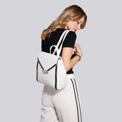 Damski plecak skórzany z kopertową klapą, biało - czarny, 92-4E-312-0, Zdjęcie 1