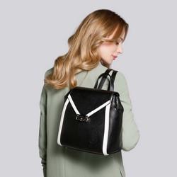 Damski plecak skórzany z kopertową klapą, czarno - biały, 92-4E-312-1, Zdjęcie 1
