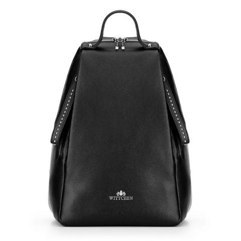 Damski plecak skórzany z suwakami duży, czarny, 92-4E-613-1, Zdjęcie 1