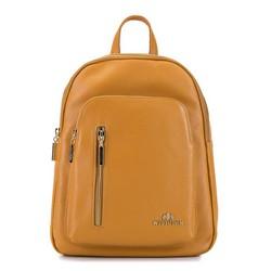 Damski plecak skórzany z suwakami, koniak, 92-4E-300-5, Zdjęcie 1