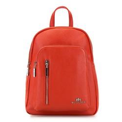 Damski plecak skórzany z suwakami, pomarańczowy, 92-4E-300-6, Zdjęcie 1
