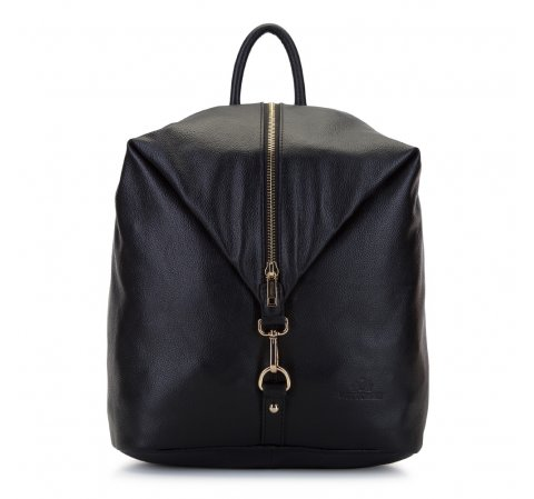 Damski plecak skórzany z karabińczykiem, czarny, 92-4E-204-1, Zdjęcie 1