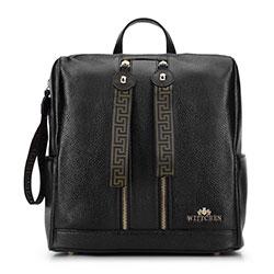 Damski plecak skórzany z tasiemkami, czarny, 93-4E-302-1, Zdjęcie 1