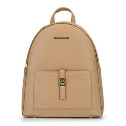 Damski plecak z kieszenią z przodu, beżowy, 29-4Y-003-9G, Zdjęcie 1
