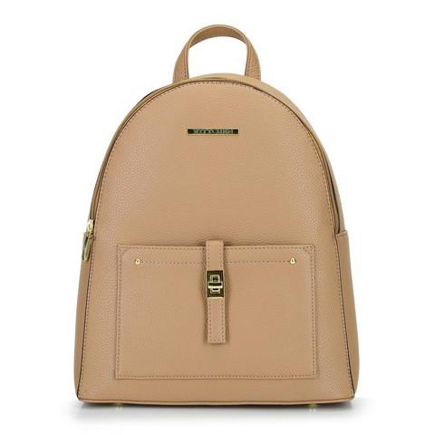 Damski plecak z kieszenią z przodu, beżowy, 29-4Y-003-3, Zdjęcie 1