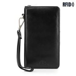Damski portfel skórzany z kieszenią na telefon, czarny, 26-2-444-1, Zdjęcie 1