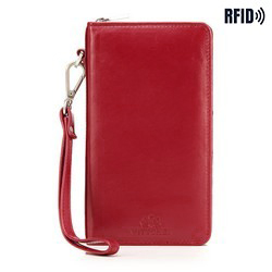 Women's leather wristlet wallet with a phone pocket, red, 26-2-444-3, Photo 1
