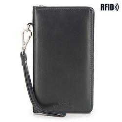 Damski portfel skórzany z kieszenią na telefon, ciemny granat, 26-2-444-N, Zdjęcie 1