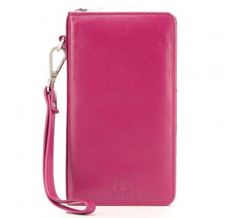 Damski portfel skórzany z kieszenią na telefon, różowy, 26-2-444-N, Zdjęcie 1
