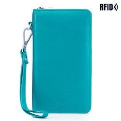 Damski portfel skórzany z kieszenią na telefon, turkusowy, 26-2-444-T, Zdjęcie 1
