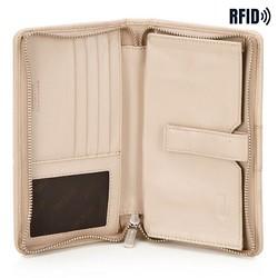 Damski portfel skórzany z kieszenią na telefon, beżowy, 26-2-444-B, Zdjęcie 1